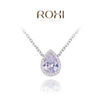 ROXI Gift Classic Genuine Austrian sky blue zircon Fashion Link Chain platinum Necklace Flowers Pendant Party