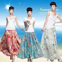 Half-skirt female beach  bohemia half-length full   chiffon bust skirt medium-long skirt half-length summer