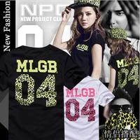 Women T-shirt new 2014 fashion women MLGB spoof letters leopard print short sleeved t shirt women women clothing