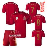 2014 Brasil World Cup Spain Jersey Men Jerseys Iniesta fans soccer suit football shirt + pants training suit Free Shipping