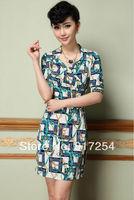 New Fashion Elegant 2014 Women's digital geometric patterns printed stretch Slim Dress Mini Summer Dresses Party Dress Drop Ship