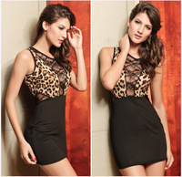 Sleeveless Sexy Ladies O-Neck Off The Shoulder  Lace  Leopard Dress