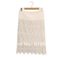 Beige  Embroidery Floral Lace Crochet Causal  Skirt  Free Shipping