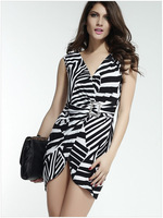 Hot Sale Fashion  Sexy Off  The Shoulder V-Neck Sleeveless  Button Striped  Dress