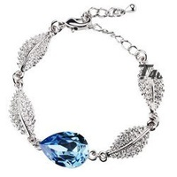 (Minimum order $ 15) Wholesale 18K Platinum Plated Four Leaf Leaves Drop water Crystal Bracelet for women