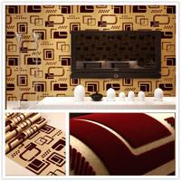 luxury velvet  flocking  wallpaper roll TV background living room bedding papel de parede 3d wall decoration embossed