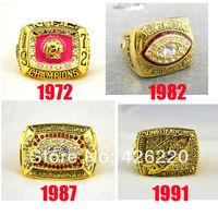 Replica NFL Free shipping fashion 18K gold 1972 1982 1987 1991 Washington Redskins Super Bowl Championship Ring