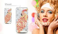 3D Pure Hand-Made DIY Luxury Bling Diamond Peacock Mobile Cell Phone Cases Case For iPhone 4 4S 5 5S 5C Cover Look Shiny+Gifts