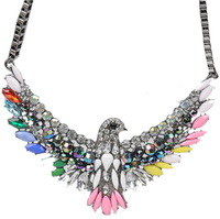 2014 Hot Sales Plating Color Necklace Color Blending Resin Choker Luxury Crystal Rhinestone Jewelry Shape of the Eagle Necklace