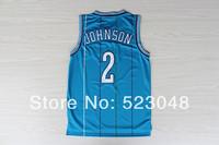 Free shipping Charlotte #2 Grandmama Larry Johnson blue retro vintage new material Brand Basketball jerseys Embroidered logos