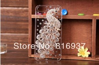 NEW ARRIVAL Hot Sell Colorful Luxury 3D Peacock Diamond Metal Crystal Bling Skin Case Cover For  iPhone 4 4s 5 5S Free Shipping