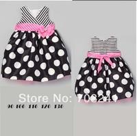 5sets/lot Free Shipping 2014 new summer girls dress children princess Polka Dot Dress