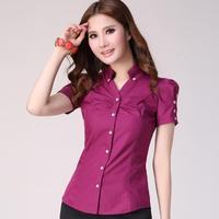 2014 new summer Korean , OL wear Slim , puff sleeve V-neck shirt short-sleeved shirt