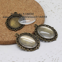 10 set/lot antique bronzer filigree cameo cabochon 18*25mm base setting pendant tray + clear glass cabochons 7285