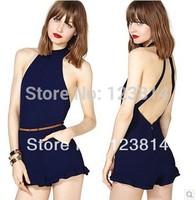 Spring Summer Dark Blue Sexy Blue Chiffon Jumpsuit Women Ruffles Hot Short Backless Pocket Design  Sleeveless Overall D357