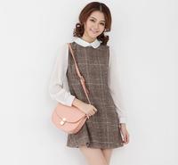 England Plaid Woolen Stitching Chiffon Sleeves Doll Dress Lapel Collar Chiffon College Wind Sweet Dress