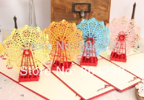 2014 Ferris Wheel of Happiness 3D laser cutting greeting card 20pcs free shipping(China (Mainland))