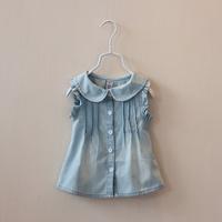 CS4050 Girls cotton denim  sleeveless summer shirt turndown colar