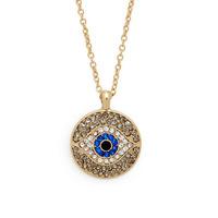 Green Material Medal Shape Pendent Evil Eye Necklace Full Rhinestone 18K Gold Plated For Women & Men 10pcs/lot
