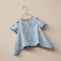 CS4053 Girls cotton liner flocking flower print summer short sleeve blouse top wear