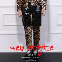 2014 spring original design male leopard print pants independent slim pencil pants male