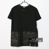 Fashion trend ktz tassel embroidered patchwork leather double-shoulder zipper short-sleeve T-shirt ,