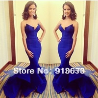 Free shipping Mermaid/Trumpet V Neck Satin Newest Fabulous  Evening Dresses Celebrity Dresses Party gown  Hot sale