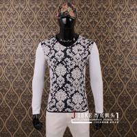 Fashion 2014 men's clothing slim flower patchwork 100% V-neck male cotton long-sleeve T-shirt basic shirt