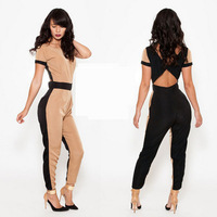 In Stock Winter New 2014 Women Sexy Long Rompers Cut Out Vintage Noverty Backless Short Sleeve Jumpsuit Skinny Bodycon Playsuit