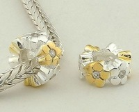 Fs057 925 pure silver bead pendant  jewelry  diy accessories flower style