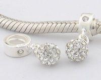 Lw007 925 pure silver bead pendant  jewelry diy   white ball thread