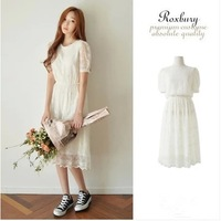 Freeshipping 2014 New Brand Women Cute Summer White Solid Pleated Lace Long Dress Fashion Short  Plus Size XL One-piece Dresses
