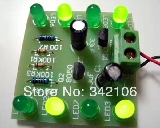 Free Shipping!!! Green LED flashing lights circuit loop / light water CKD / electronic production suite DIY(China (Mainland))