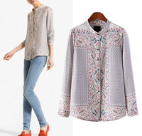 2014 New Women Ladies' Vintage Floral Totem Printed Blouse Ethnic Long Sleeve Stand Collar ZA Shirt Spring Summer Blusas A198