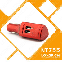 FREE SHIPPING 2014 LONGRICH  fashionable  dual usb car charger for ipad 2/3/4/5 as  mini premium logistics gift  (NT755)