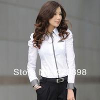 2014 new hot  selling blouse  good quality fashion women's shirt puff sleeve  long shirt female  OL shirt 2551