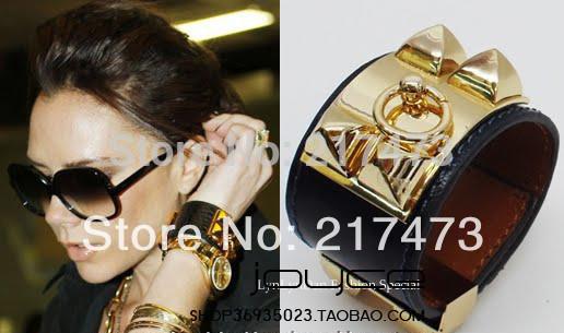 H brand designer bracelet cuff bracelet Punk rivet Studs Pyramid Leather bracelet Wristband Charm Bangles H Bracelet Gold h(China (Mainland))