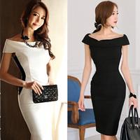 Free shipping Plus Size New Fashion 2014 Women Spring Summer  Girl Black  White vintage Casual bodycon Dress Brand vestido