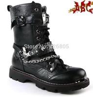 Trend winter male boots punk non-mainstream medium-leg