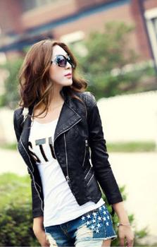 Женщины Leather jacket 2014 autumn slim leather coat Кожа PU является высокотехнологичным ...