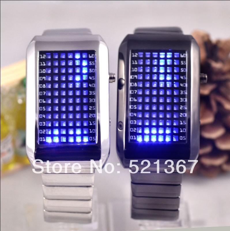 72-LED Blue Light Matrix Stainless Steel Watch/Wristwatch(China (Mainland))