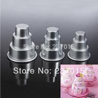 3pcs Mini 3 Tier Cake Baking Pan Tin Sugarcraft Tools Decorating Aluminum Pastry Mold Set