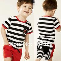 Retail Summer children stripe pocket short sleeve T-shirt + shorts suit boy's suit cotton clothing set with star 6236008