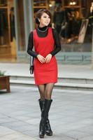 Winter Dress Woolen Vest Dress Sleeveless Vest Pocket Slim Short Dress Plus Size  XXXL Free Shipping