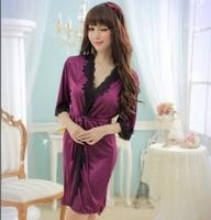 Min.order is $10 (mix order) Free Shipping, sexy women pajamas purple bathrobe noble black lace nightgown bathrobe side