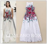 New Fashion Ladies' Elegant  floral print big swing Dress sleeveless O-neck Pleated long dress evening party prom summer dress