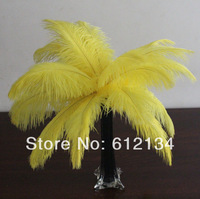 """50pcs/lot 10-12"""" yellow Feather Ostrich Feather plumage for Deco Free Shipping"""