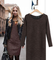2014 Spring New Loose Long-sleeve Autumn Winter Sweater Dress  Free Shipping