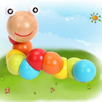 1PC Lovely Multicolour Magical Twisting Insect Child Toys Wooden Puzzle Baby Train Math Toys Baby Fingers Flexibility EJ870045