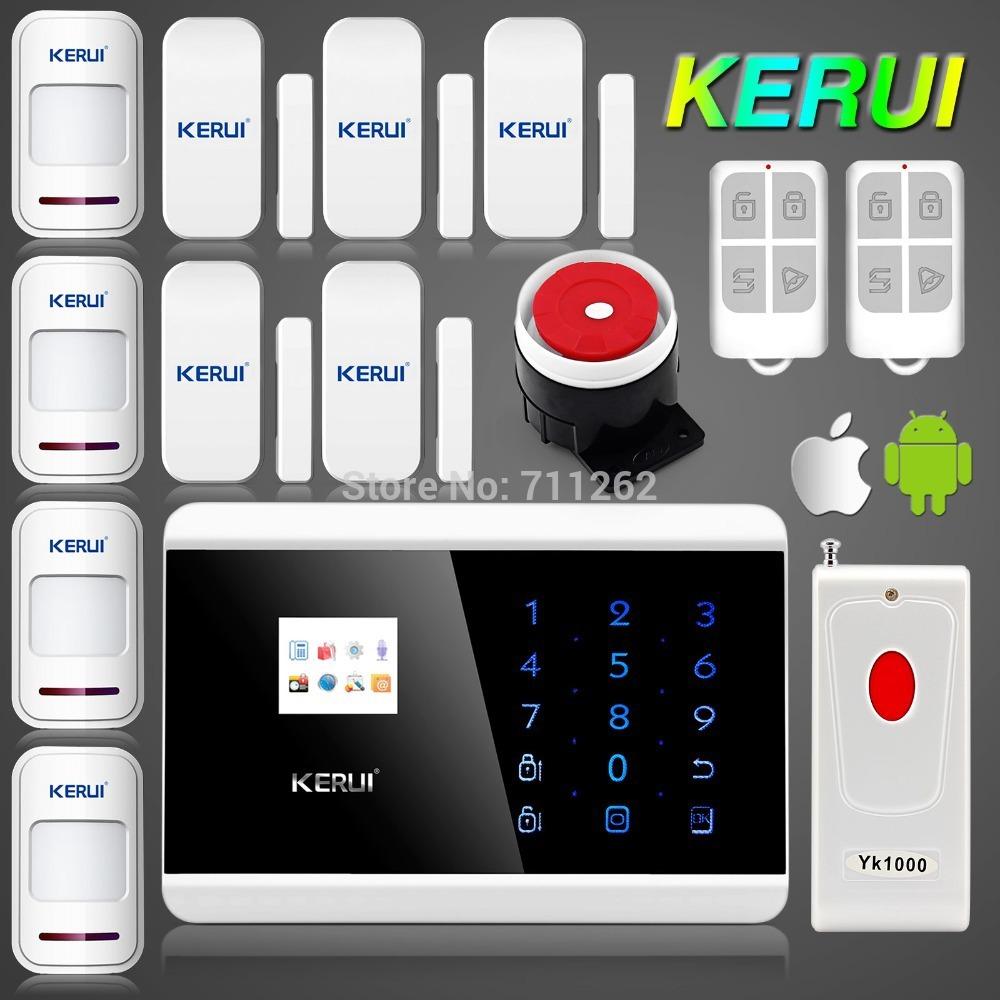 Englisch russisch französisch stimme dual net touch-tastatur TFT-Farbdisplay gsm pstn dual net sicherheitssystem alarm rauch dectector